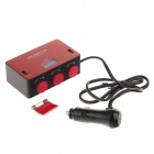 HSC YC-434 Dual USB Car Cigarette Powered Adapter Extended Socket with Voltage Display - Red + Black