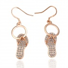 Women`s Cute Shoes Style Rhinestone Studded Eardrop Earrings - Rose Gold