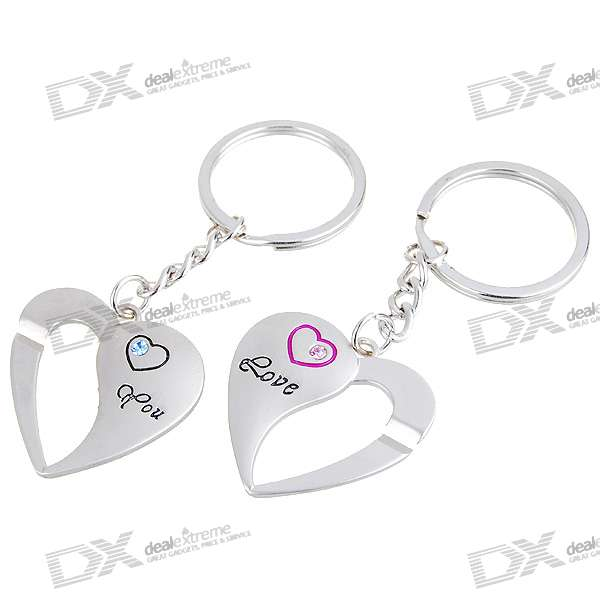 Love You Heart Kirksite Couple's Keychains (Pair)