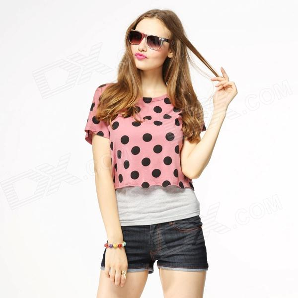 Catwalk88 Women's Sexy Short-Sleeved Round Neck Midriff-baring T-Shirt - Pink + Black (L)