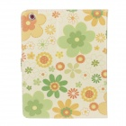 Colorful Flower PU Leather Flip Open Case w/ Stand for IPAD AIR - Yellow + Green + Multi-Color