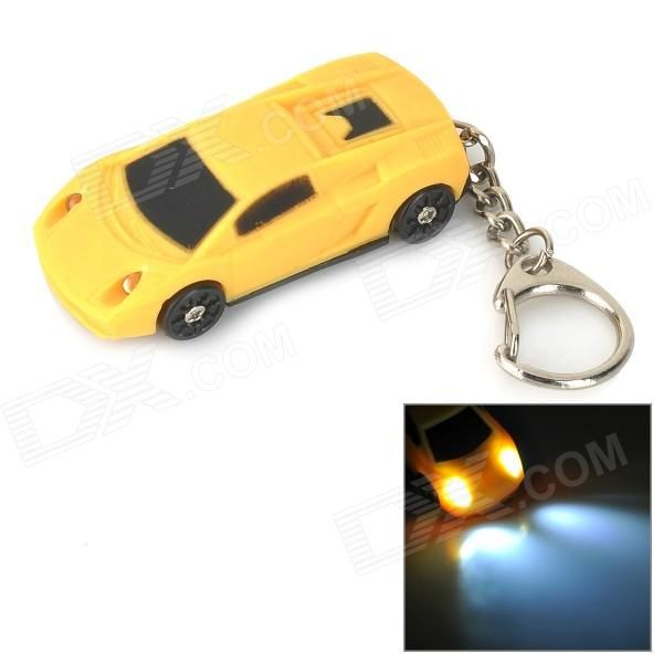 Creative Car Model Style LED White Flashlight Keychain w/ Sound - Yellow + Black (4 x LR41)