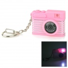 Creative Camera Style LED White Flashlight Keychain w/ Sound - Pink + Black (3 x AG10)