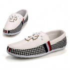 SNJ Men's Casual Cross Pattern PU Shoes - Black + White + Multi-Color (EU Size 43)