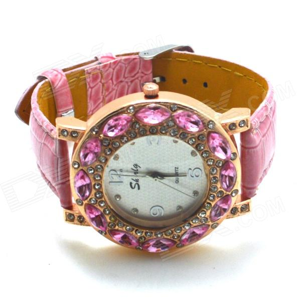 Women's Stylish Rhinestone Inlaid PU Leather Band Analog Quartz Wrist Watch - Pink (1 x 626)