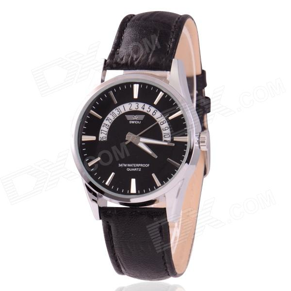 Men's Zinc Alloy Casing PU Band Analog Quartz Watch w/ Calendar Display - Black (1 x 377) stylish bracelet zinc alloy band women s quartz analog wrist watch black 1 x 377