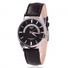 Men's Zinc Alloy Casing PU Band Analog Quartz Watch w/ Calendar Display - Black (1 x 377)