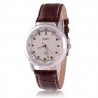 Men's Business Style Zinc Alloy Casing PU Band Analog Quartz Watch - White + Brown (1 x SR626)