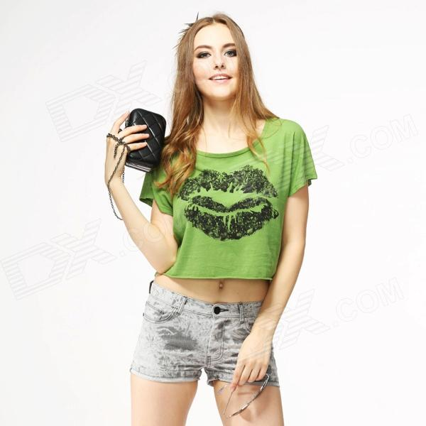 Catwalk88 Women's Sexy Short-Sleeved Round Neck Midriff-baring T-Shirt - Green (L)