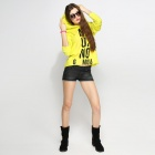 Catwalk88 Women's Printed Pattern Long Sleeved Casual Hoodie w/ Hat - Yellow + Black (L)