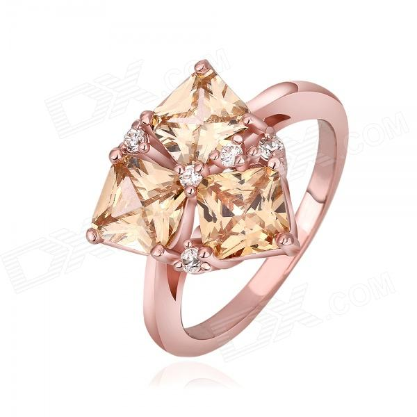 Shiny Fashionable Rhinestone Ornament Zinc Alloy Ring for Women -  Rose Gold (U.S Size 8) metal ring holder for smartphones rose gold