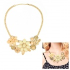 eQute Women's Fashionable Exaggerated Flower Style Pendant Necklace - Golden