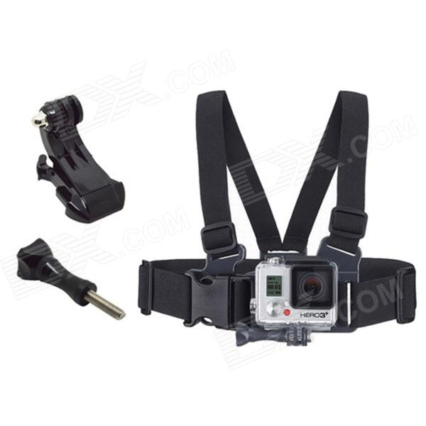 TOZ Front Chest Elastic Belt Shoulder Strap w/ J-Mount / Screw for Gopro - Black