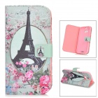IKKI Retro Tower Pattern Flip-open PU + TPU Case for HTC ONE2 / M8 - Multicolored