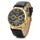 CJIABA 301 Men's Water-resistant PU Band Mechanical Analog Wristwatch w/ Calendar - Black + Gold