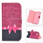 IKKI Sweet Bowtie Pattern Flip-open PU + TPU Case w/ Holder + Card Slot for HTC ONE2 / M8