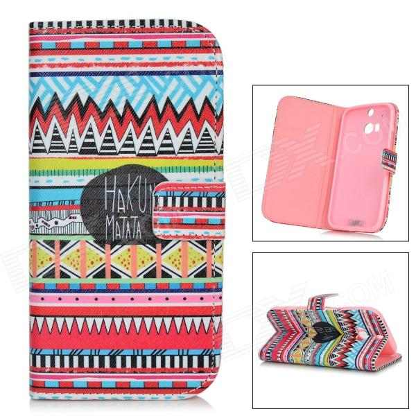 IKKI Stylish Retro Tribal Pattern Flip-open PU + TPU Case w/ Holder + Card Slot for HTC ONE2 / M8 cute cartoon pattern pu tpu flip open case w stand card slots for htc one2 m8 black grey