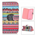 IKKI Stylish Retro Tribal Pattern Flip-open PU + TPU Case w/ Holder + Card Slot for HTC ONE2 / M8