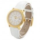 ARSDO A6204L Women's Quartz Watch w/ Seiko Movement / Genuine Leather Band - White