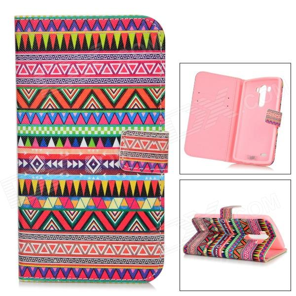 IKKI Retro Patterned Flip-open PU Case w/ Holder + Card Slot for LG G3 / D855 - Multicolored owl pattern flip open pu case w stand card slots for lg g3 d855 light green multi color