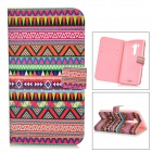 IKKI Retro Patterned Flip-open PU Case w/ Holder + Card Slot for LG G3 / D855 - Multicolored