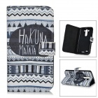 IKKI Stylish Patterned Flip-open PU Case w/ Holder + Card Slot for LG G3 / D855 - Black + White