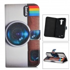 IKKI Camera Patterned Flip-open PU Case w/ Holder + Card Slot for LG G3 / D855 - Brown + White