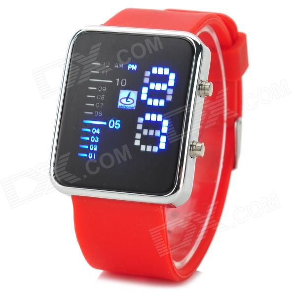 Shifenmei 1149 Fashion Zinc Alloy Case Silicone Band Digital LED Wrist Watch - Red + Black