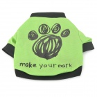 "H0001 ""Make Your Mark"" Lettering Cotton T-shirt for Pet Dog - Grass Green + Black (Size S)"