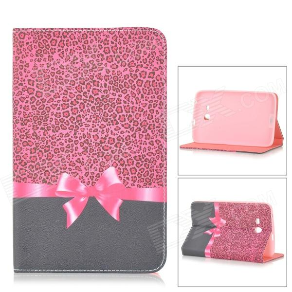 Bowknot Pattern Protective Flip-open PU Leather Case for Samsung Galaxy Tab 3 Lite T110 detachable 57 key bluetooth v3 0 keyboard pu leather case for samsung galaxy tab t110 pink