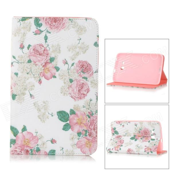 Sweet Floral Pattern Flip-open PU + TPU Case w/ Holder + Card Slot for Samsung Galaxy Tab3 Lite T110 ikki sweet cartoon pattern flip open pu case w holder card slot for samsung galaxy s3 mini i8190