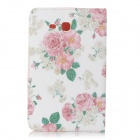 Sweet Floral Pattern Flip-open PU + TPU Case w/ Holder + Card Slot for Samsung Galaxy Tab3 Lite T110