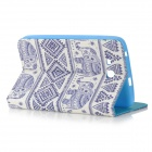 Protective Flip Open PU Leather Case w/ Stand for 7'' Samsung Galaxy Tab 3 Lite T110 - White + Blue