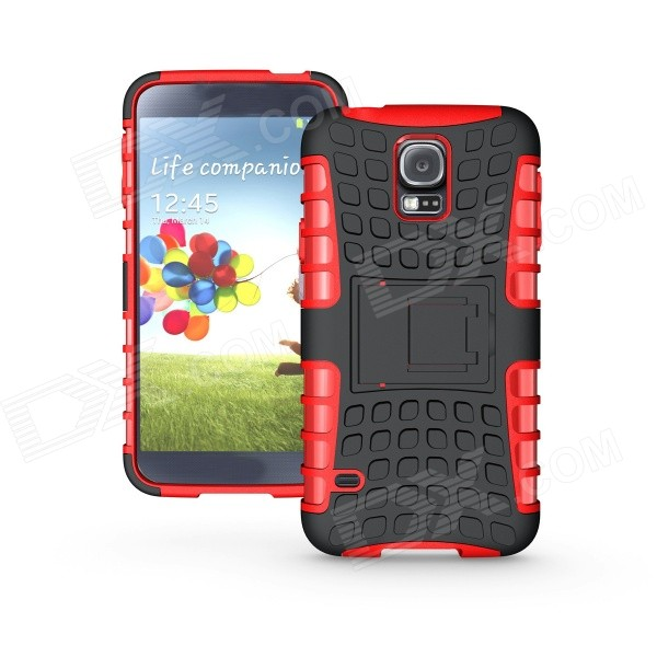 Protective TPU + PC Case w/ Holder for Samsung Galaxy S5 - Red protective tpu pc bumper frame for samsung galaxy s5 mini green