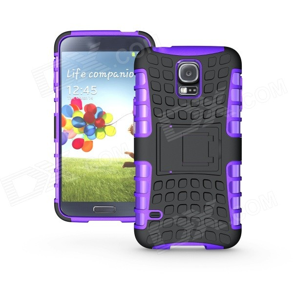 Protective TPU + PC Case w/ Holder for Samsung Galaxy S5 - Purple + black футболка zoo york z black purple