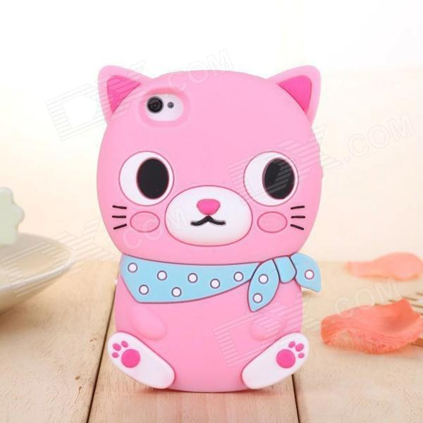 ZIQIAO Cute Cartoon Cat Shaped Protective Soft Silicone Back Case for IPHONE 4 / 4S - Pink + Blue cute 3d cartoon penguin style protective silicone soft back case for iphone 4 4s green white