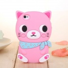 ZIQIAO Cute Cartoon Cat Shaped Protective Soft Silicone Back Case for IPHONE 4 / 4S - Pink + Blue