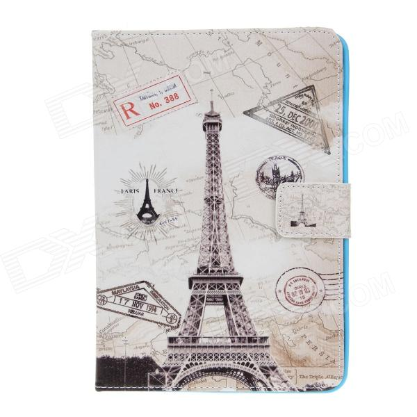 Stylish Eiffel Tower Pattern PU Leather Flip Open Case w/ Stand for IPAD AIR - Grey + White funny moustaches pattern pu leather flip open case w stand for ipad 2 the new ipad ipad 4