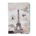 Stylish Eiffel Tower Pattern PU Leather Flip Open Case w/ Stand for IPAD AIR - Grey + White