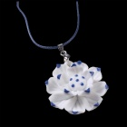 G. ERIMON TCXL0030 Elegant Lotus Ceramic Pendant Necklace - White + Blue