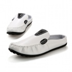 SNJ Men's Fashionable PU Casual Shoes - White + Black (EUR Size 42)