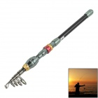 OUMILY Portable 5-Section Carbon Fishing Rod Pole - Dark Grey + Red + Golden (2.1m)