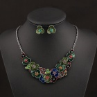 SAPREAL Plum Style Rhinestone Ornament Zinc Alloy Necklace + Earring Set - Multicolored