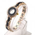 Women's Shiny Rhinestone Inlaid Electroplating Steel Band Analog Quartz Bracelet Watch (1 x LR626)