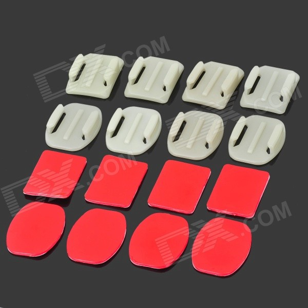 BZ BZ10y4 Glow-in-the-dark 4+4 Square + Oval Mount Set Accessories for GoPro Series - White + Red