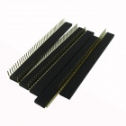 1 x 40P 2.54mm Gold Plated Female Pin Headers - Black (5 PCS)