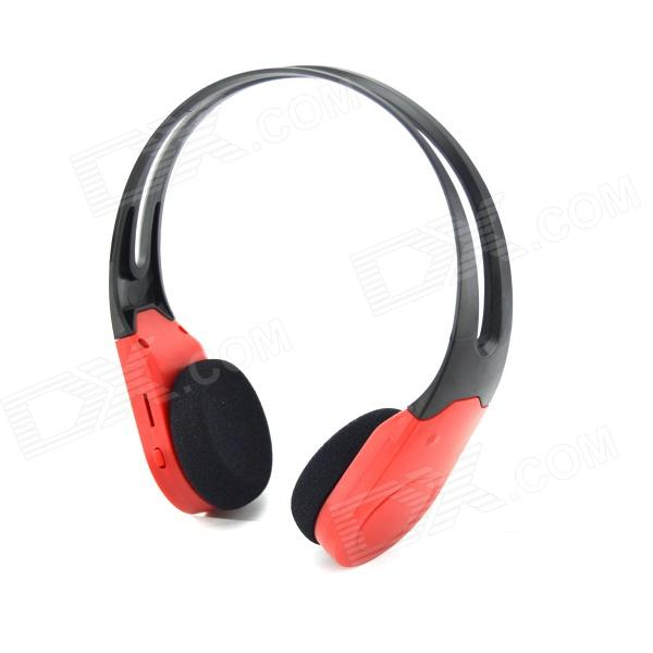 D-460 Rechargeable Wireless Headphones w/ TF Card Slot / FM Radio - Black + Red aj 81 wireless bluetooth v2 1 mp3 speaker w tf fm micro usb for iphone more black white