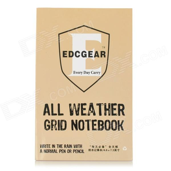 EDCGEAR Water-resistant Outdoor Travel Notepad Notebook - Khaki + Black (11 x 16cm)