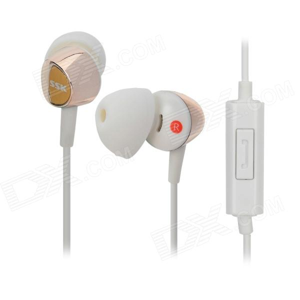 SSK EP-AM13 In-Ear Mega Bass Stereo Earphones - White + Golden g925 high quality gaming headset studio wire earphones computer stereo deep bass over ear headphone with microphone for pc gamer