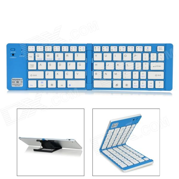 Ultra-Thin Folding Bluetooth v3.0 66-Key Keyboard for Samsung Tablet / IPAD - White + Blue
